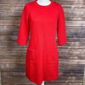 Boden Red Abigail Jacquard Textured Tunic Dress